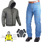 Men's Motorcycle Motorbike Denim jeans Pant & Motorbike Fleece Hoodie Jacket CE