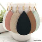 Leather Earrings Teardrop Bohemian Drop Pink Black White Mint Metalic - Genuine