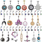 14PCS Unique Belly Rings Lot Navel 361L Surgical Steel Belly Button Ring Set 14G image