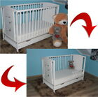BEARS WHITE BABY COT/JUNIOR BED WITH DRAWER + OPTIONAL MATTRESS BARRIER