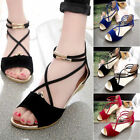 ladies shoes - Women Flat Low Wedge Heel Summer Open Toe Casual Flip Flop Ladies Sandals Shoes