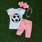 Soccer Ball girls football suit child clothing boutique clothes kids pink Capri
