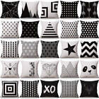 Geometric Throw Pillow Case Nordic Style Decorative Cushion covers Black 17 Inch