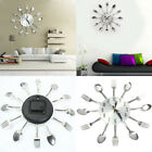 ES_ FH- Stainless Steel Knife Fork Spoons Wall Clock Analog Home Office Decor Ho