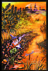 "GNOME FISHING MARIJUANA FANTASY BLACKLIGHT Art Silk poster 12x18"" 24x36"" 24x43"""