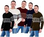 Mens New Cable Knit Jacquard Long Sleeve Pullover Jumper Sweater S to XL