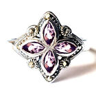 (SIZE 6,7,8) AMETHYST Marquise-Cut Stones RING Marcasite .925 STERLING SILVER