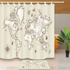 Detailed Old World Map Shower Curtain Home Bathroom Fabric & 12hooks 71*71inch