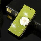 3D Diamond Flower Leaf Stand Leather Card Wallet Magnetic Case Cover For Various