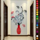 Us Acrylic 3d Flower Vase Wall Sticker Art Mural Decal Removable Home Diy Decor