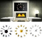 Home Decor Modern Wall Clock Roman Numerals Mirror Surface 3D Acrylic Sticker