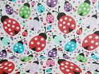 Remnant Offcut Fabric Polycotton Large Pretty LADYBIRD Material NO WASTE SIZES
