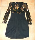 Patra DRESS 5 / 6 Vtg 80s Black with Metallic Gold Lace Cocktail Evening