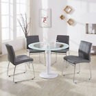 Glass Top Pedestal Table 4 Chrome Dining Chairs Round Kitchen Set Marble&Leather