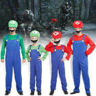 Kids Adults Super Mario Bros Luigi Costume Family Workmen Party Clothes Xmas Set