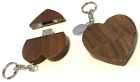 Personalised engraved wooden heart 8gb USB memory stick flash drive pouch - M15