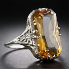 Vintage 925 Silver Ring Natural Citrine Woman Jewelry Wedding Gift Size 6-10