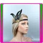 1920s Headband Peacock Feather Gold Bridal Great Gatsby 20s Flapper Headpiece