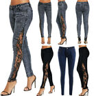 Fashion Women Long Lace Floral Skinny Leggings Summer Straight Denim Jeans Pant