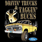 Ford Driving Trucks Taggin Bucks Hunting Redneck Deer Car  T-Shirt Tee