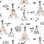 Fun Sioux - Sioux Village - Mint Grey Black on White - Cotton Fabric Children's