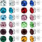Birthstone Stud Earrings 8mm Round In Sterling Silver Plate All Colors / Months