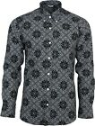 Relco Mens Black Abstract Paisley Long Sleeved Button Down Vintage Shirt Mod