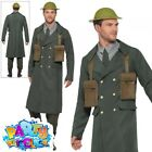 Mens 1940s WW2 British Officer Costume Wartime Fancy Dress Army Outfit