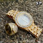 MENS HIP HOP ICED OUT GOLD PT LAB DIAMOND MIGOS WATCH & FULL ICED RING COMBO SET image