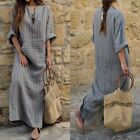 Plus Size Women Kaftan Striped Long Sleeve Loose Casual Evening Party Maxi Dress