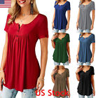 US Womens Plain V Neck Ladies Short Sleeve Boyfriend Shirt Dress Tops Plus Size