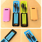 3pcs Travel Folding Cutlery Bento Chopsticks Fork Spoon Set Storage Box Case Set