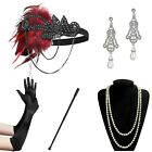 1920s Accessories Headband Earrings Necklace Gloves Holder Flapper Costume Red