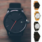 Men's Boys Leather Date Watch Waterproof Quartz Business Wrist Watches UK STOCK