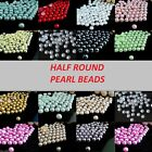 1000 PEARL BEADS - Half Round Flat Back Resin Pearl Beads 20 Colours & 4 Sizes