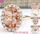 Uk 18k Champagne Gold Filled Zircon Crystal Promise Women Fashion Ring Jewellery