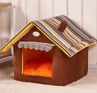 Pet Cat Igloo Bed Small Dog Soft Bed Met House (S,Brown)