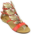 $120 Red Gold HERMES WINGS Fashion Women Shoes Sandals Flats NEW COLLECTION