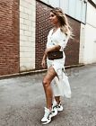 ABSOLUTELY MUST HAVE OFF WHITE MIDI DRESS WITH BUTTONS SIZES M 10 UK SOLD OUT