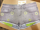 BNWT SUPERDRY GREY HOT PANTS SHORTS NEON EMBROIDERY SIZES 28 30 UK SALE
