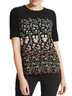 BRAND NEW PER UNA MARKS & SPENCER BLACK FLORAL PRINT TOP T-SHIRT SIZES 10-20