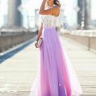 Long Chiffon Lace Evening Formal Party Ball Gown Prom Bridesmaid Maxi Dress 8-18 <br/> UK Wedding Sleeveless Cocktail Evening Long Dress
