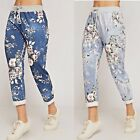 Ladies Women's Floral Print Turn Up Casual Summer Beach Holiday Pants Trousers