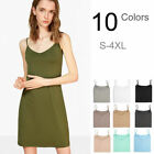 Stretchy Straight Extra Long V-Neck Tank Cami Dress Slip Under Mini Dress