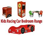 Kids Red Racing Car Childrens Single Bed Wardrobe Table and Chairs Toy Box