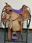 KIDS PONY YOUTH PURPLE STONE FLORAL TOOLED LEATHER WESTERN HORSE SADDLE 12 13