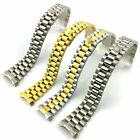 20mm Watch Band Two Tone Solid Curved End Link Steel Strap President Bracelet image