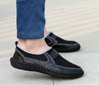 LOT Men Driving Slip on Loafers Leather Summer Shoes Breathable Mesh Casual Shoe