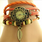 7 Colour Women Design Retro Leather Bracelet leaf Decoration Quartz Wrist Watch