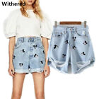 Women Jeans Vintage High Waist Hole Short Mickey Jeans Denim Sexy Shorts Pants